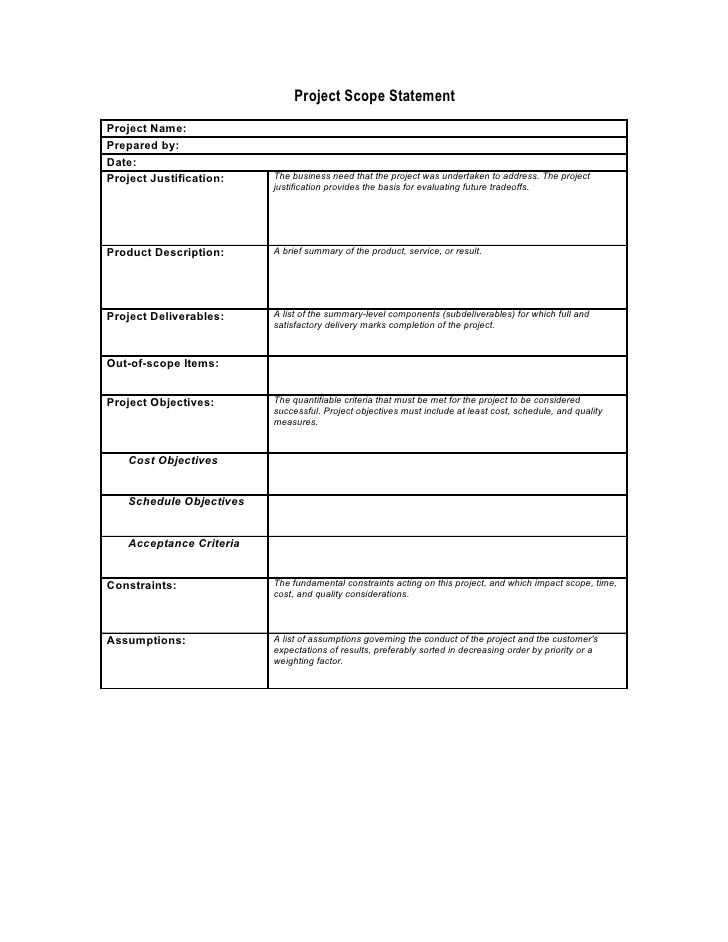scope statement template - project brief template