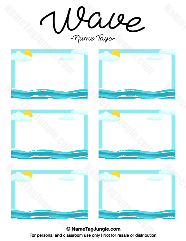 Free Printable Wave Name Tags. The Template Can Also Be Used For Creating  Items Like  Name Labels Templates Free