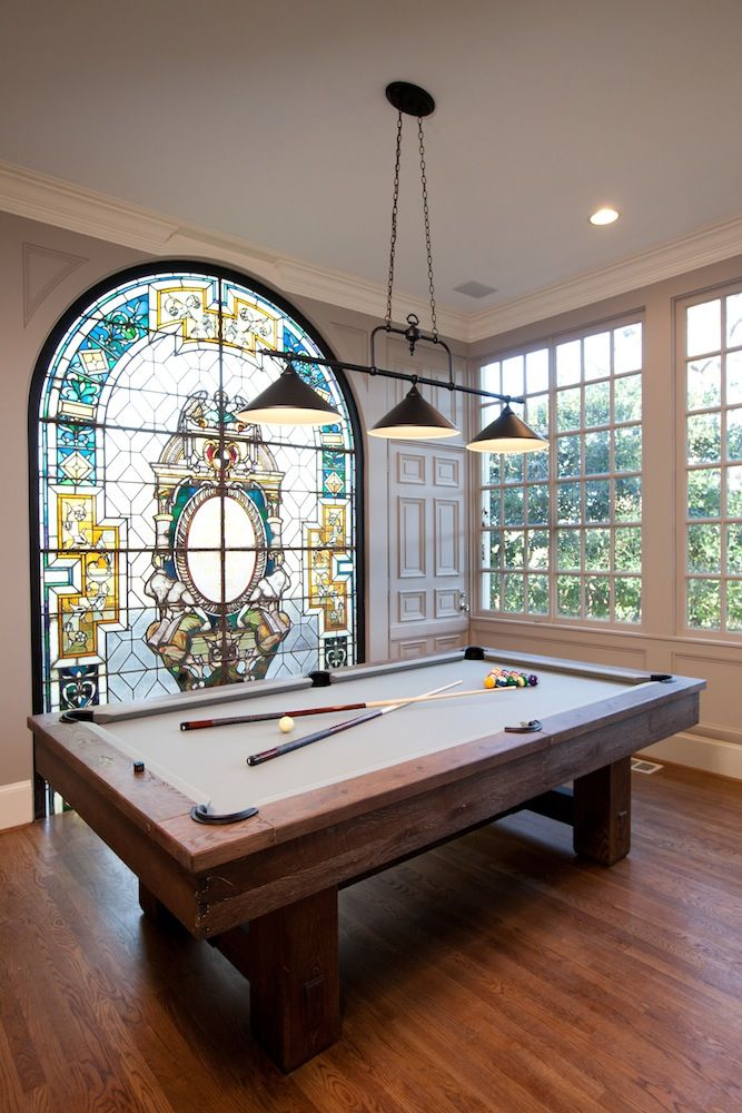 Billiards Room With Gorgeous Stained Glass Panel From Property