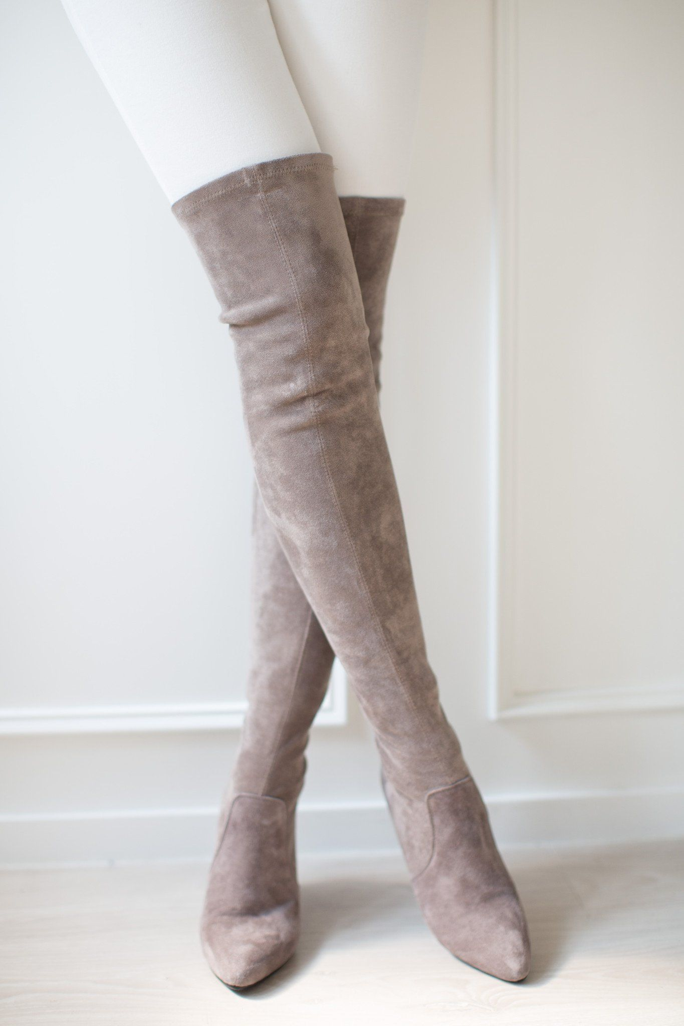 48b7271f91a Carina  Taupe Over The Knee Suede Leather Boots in 2019