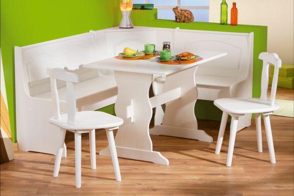 esszimmer eckbank design weiß grüne wand Kücheneckbank selber
