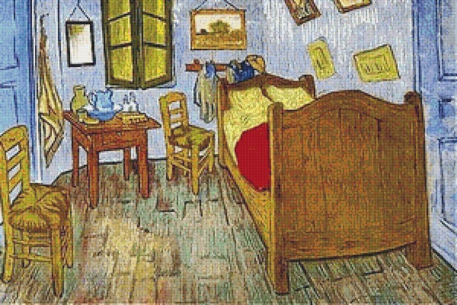 La Chambre De Van Gogh a Arles Cross Stitch Pattern $600 cross - Description De La Chambre De Van Gogh
