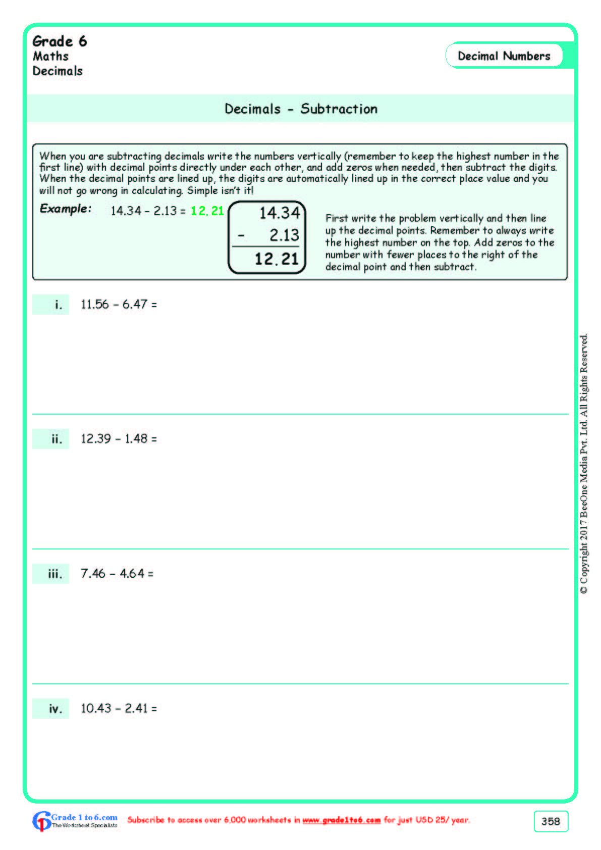 Worksheet Grade 6 Math Desimals