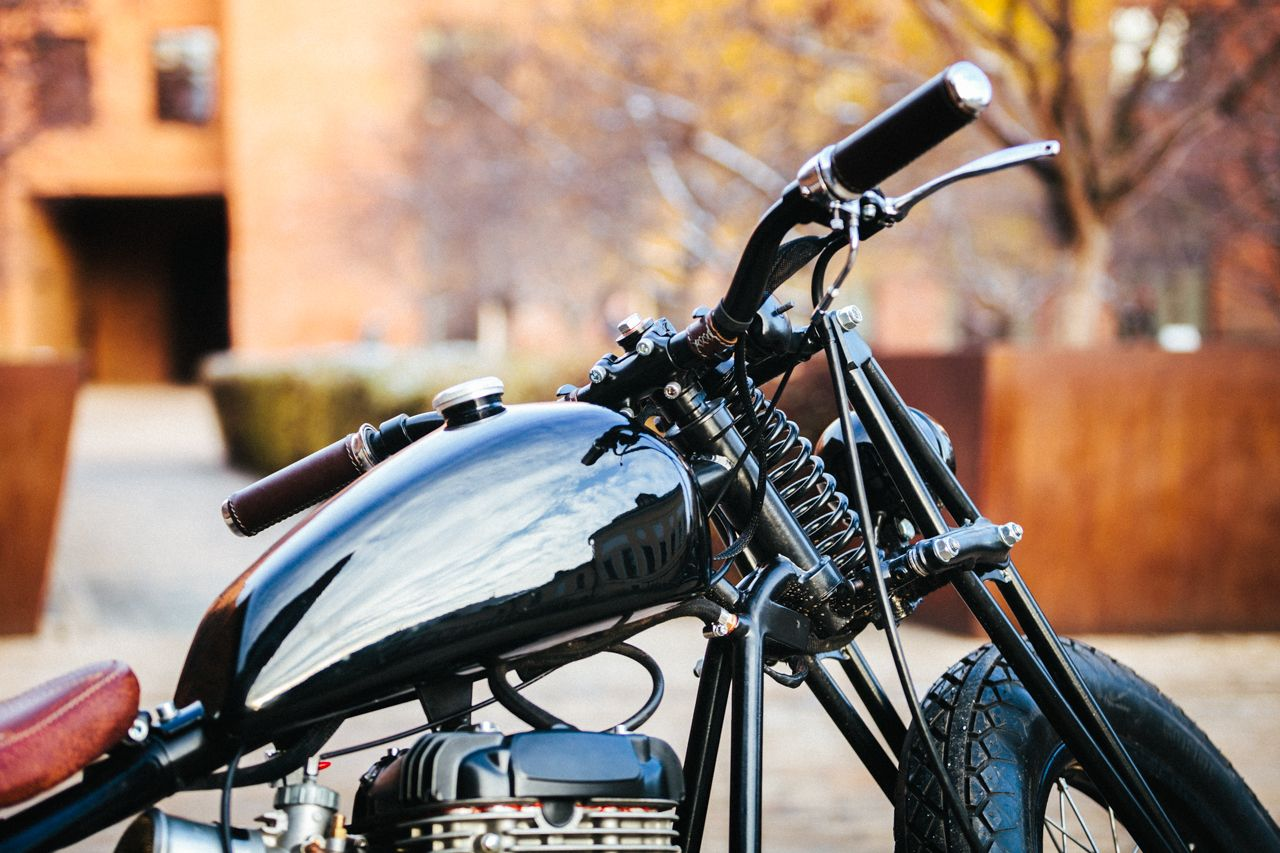 """Suzuki LS650 Savage """"O/2"""" by 53 Fast Living . It is Moscow garage.   Photo by Reckless Wolverines"""