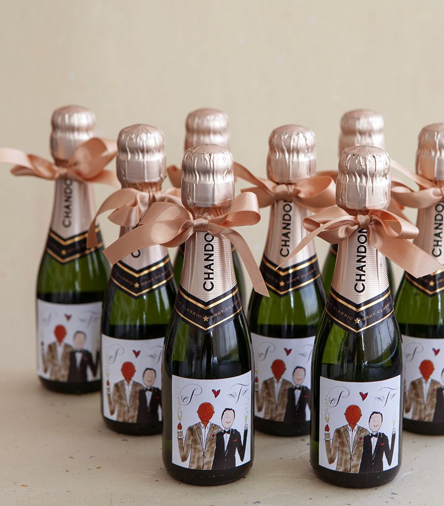 Preston Bailey\'s wedding favors - Mini champagne bottle with custom ...