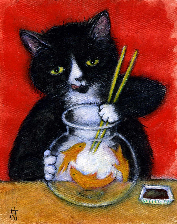 Tuxedo Cat Sashimi Time