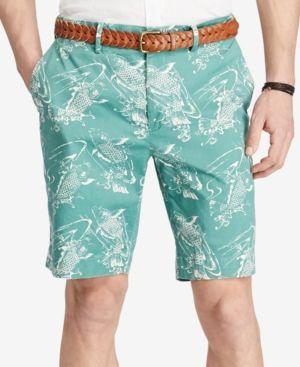 adbe090079 Polo Ralph Lauren Men's Stretch Printed Chino Shorts - Koi Fish Green 34