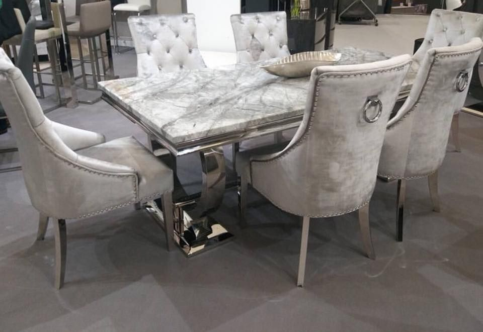 Arianna 180cms Grey Marble Dining Table & Six Smooth Velvet Silver Chairs is part of Dining table marble - Beautiful Arianna UniqueChic Furniture are one of the few retailers in the UK selling the original and genuine product There are lots of copies out