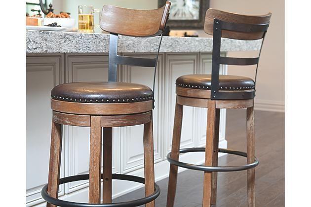 Light Brown Pinnadel Pub Height Barstool Ashley Furniture 125