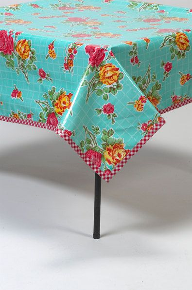 48x70 Rose And Grid Aqua Oilcloth Tablecloth By Freckledsage, $48.00
