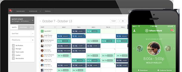 Employee Scheduling Software screenshot of the shift