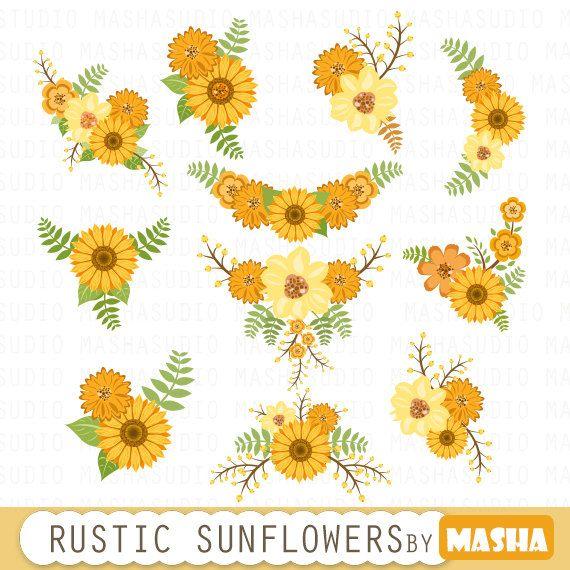 Sunflower wedding. Floral bouquet clipart flowers