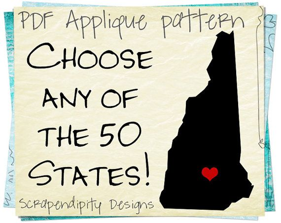 State Templates | State Applique Template Print At Home On Transfer Paper Then Iron