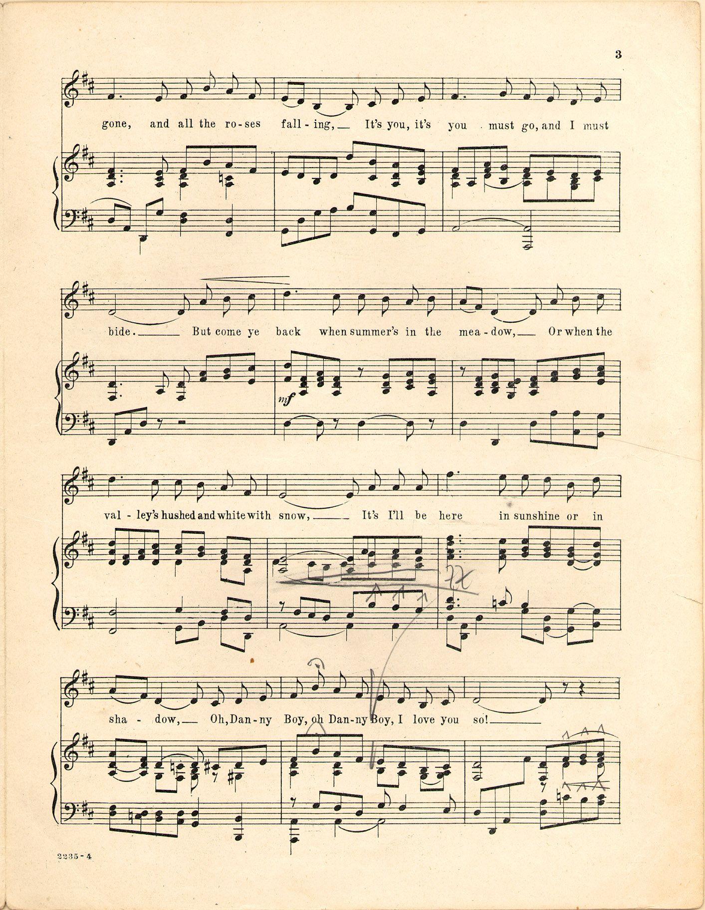 Danny boy; Old Irish air - Music sheet | The Visual Random ...