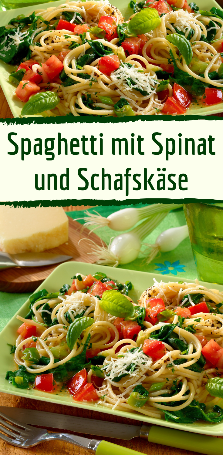 Photo of Spaghetti with spinach and sheep cheese