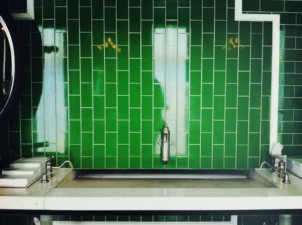 vertical, green subway tile