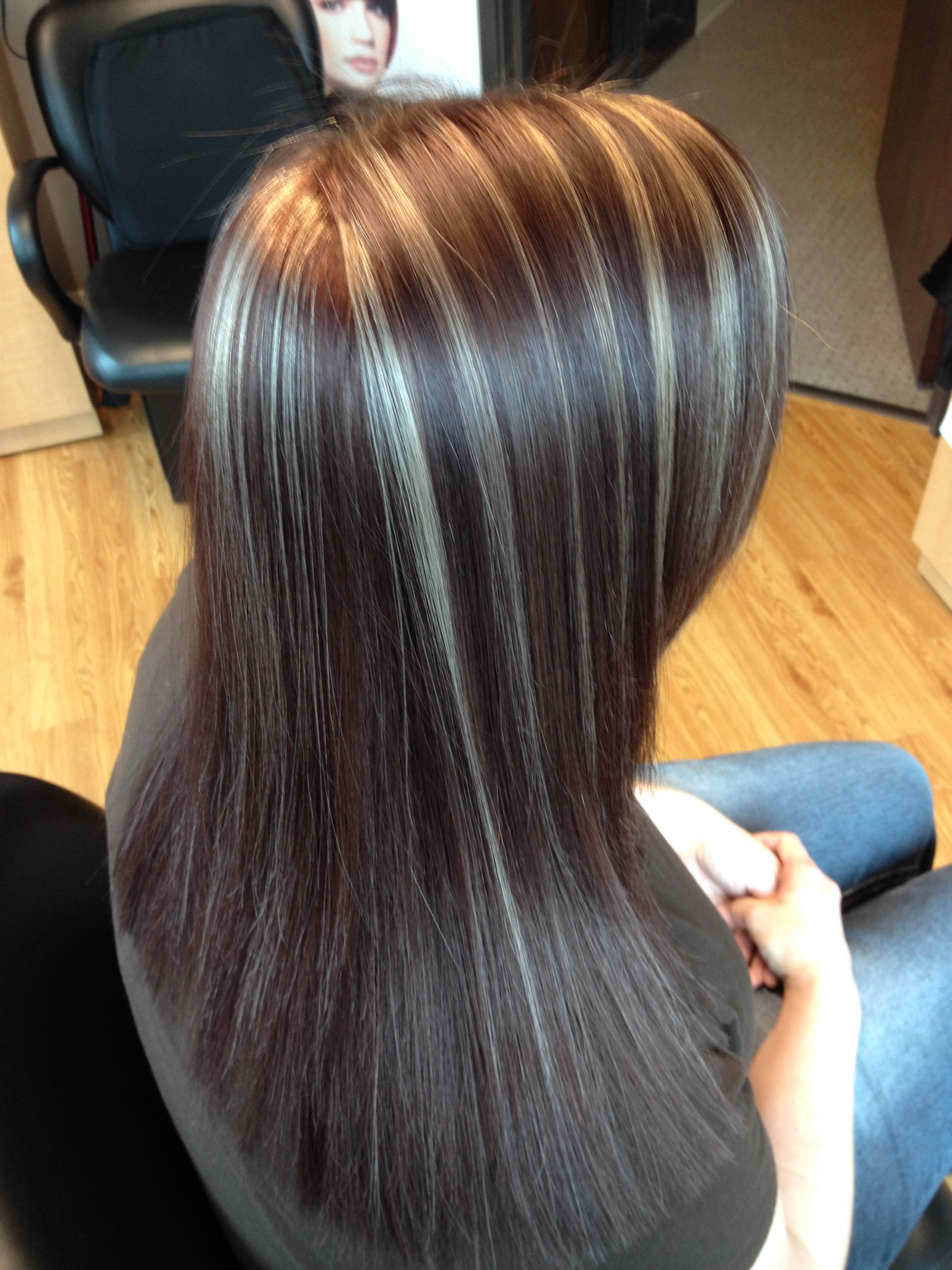 Red Brown Color With Blonde Highlights And Keratin Treatment Hair