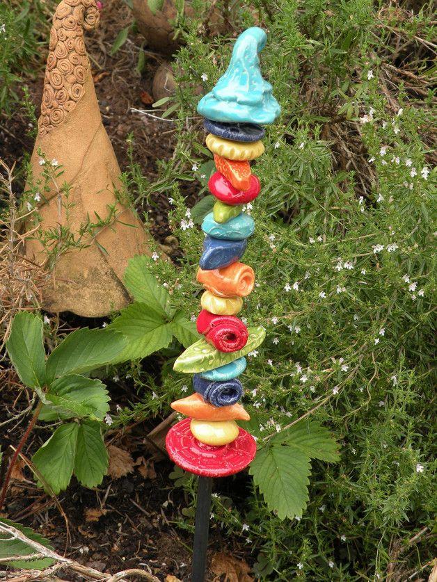 Frohlich Bunte Keramik Stele Gartenstecker Keramik Projekte Gartenstecker Keramik