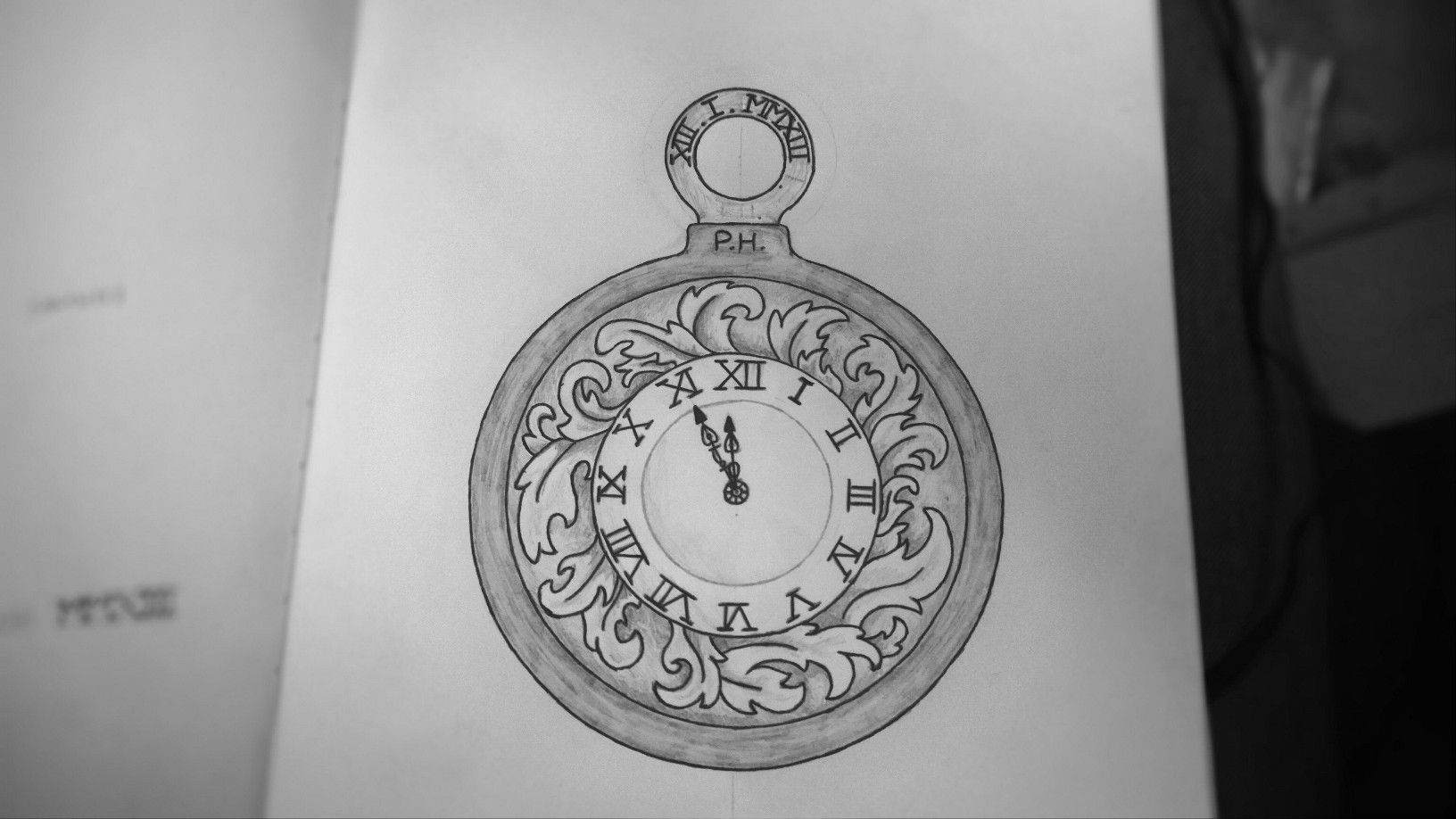 Pocket watch tattoo design for my daughters birthday