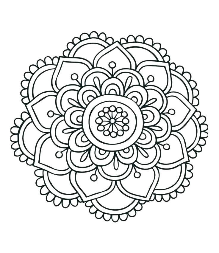 Flower Mandala Coloring Pages Easy Mandala Drawing Simple