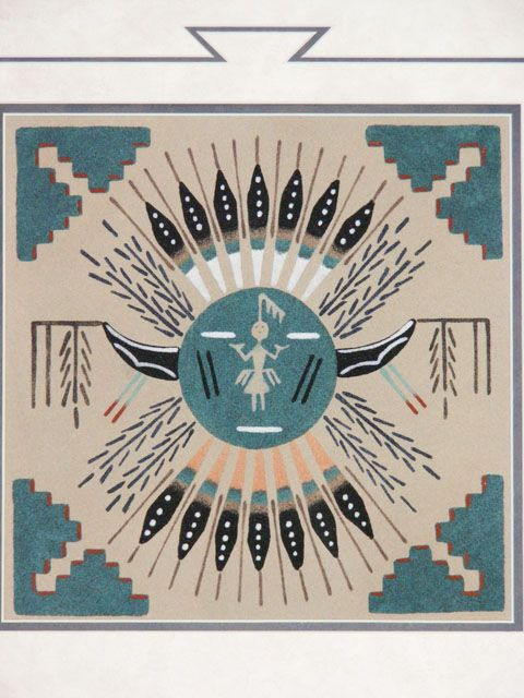 Authentic Hand Made Native American Indian Navajo Sand Art Sand