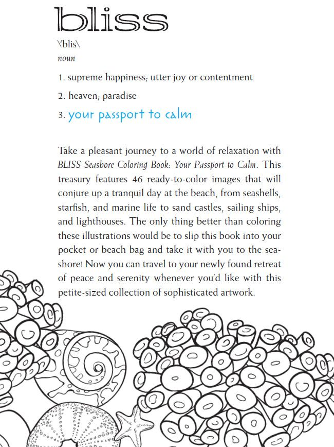 Bliss SEASHORE Coloring Book Your Passport To Calm By Jessica Mazurkiewicz About This