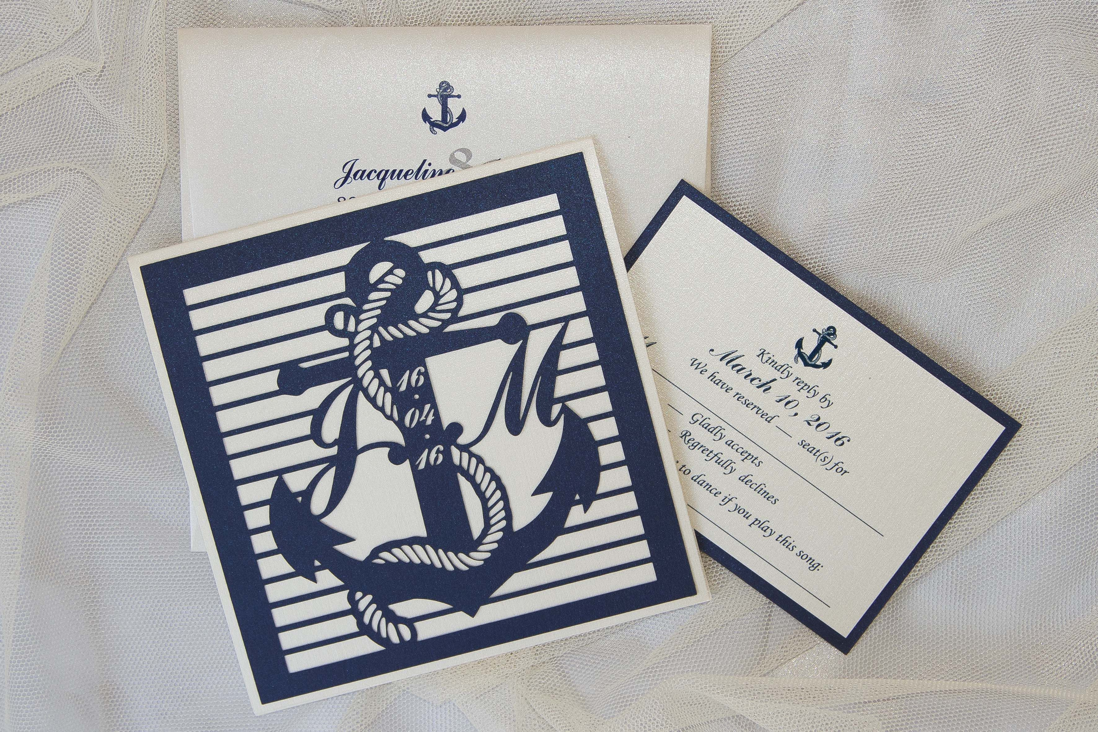 Beach wedding with this laser cut invitation all customized by bride ...