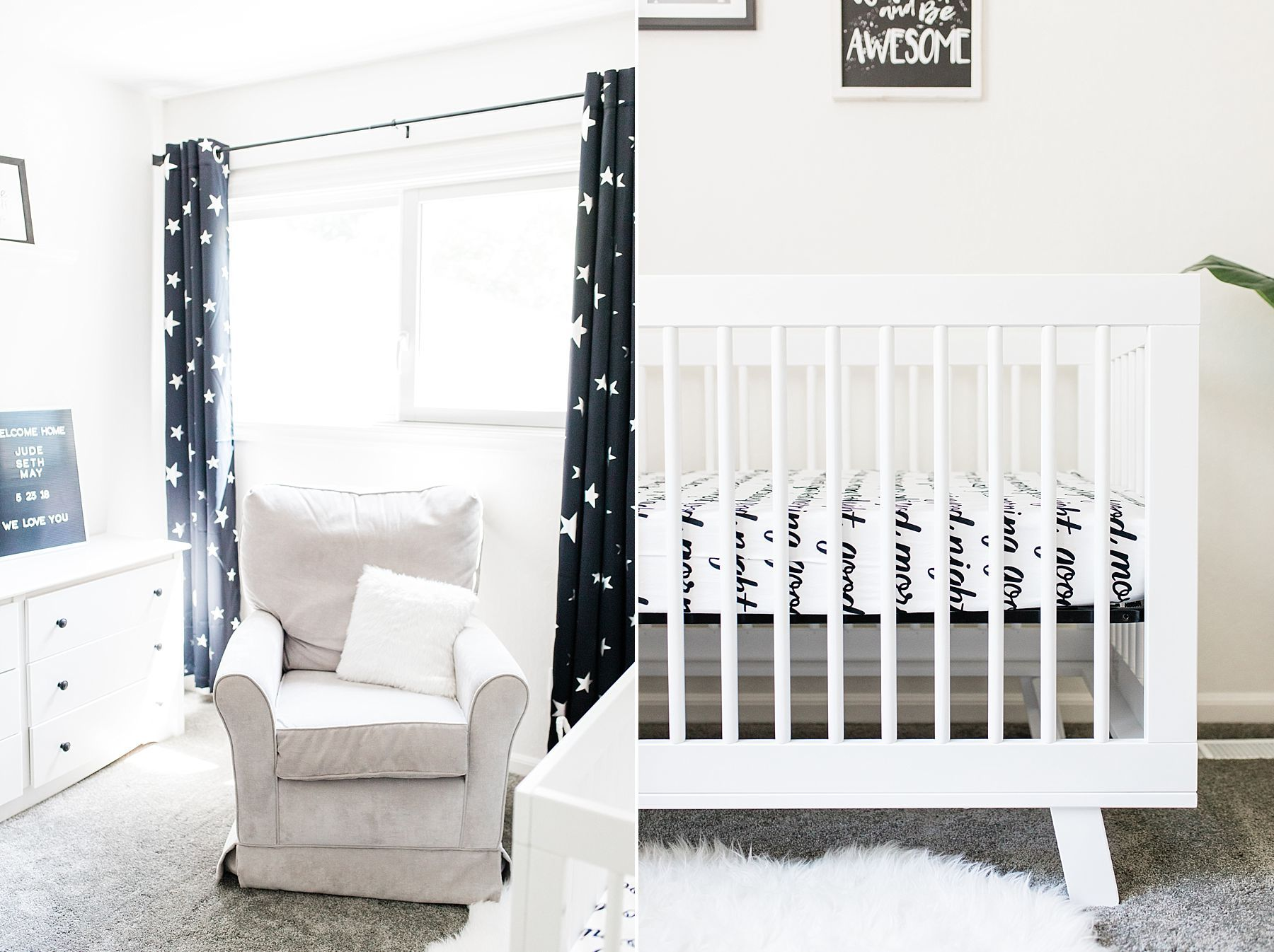 Monochromatic Nursery & Lifestyle Newborn Session  Baby Jude In