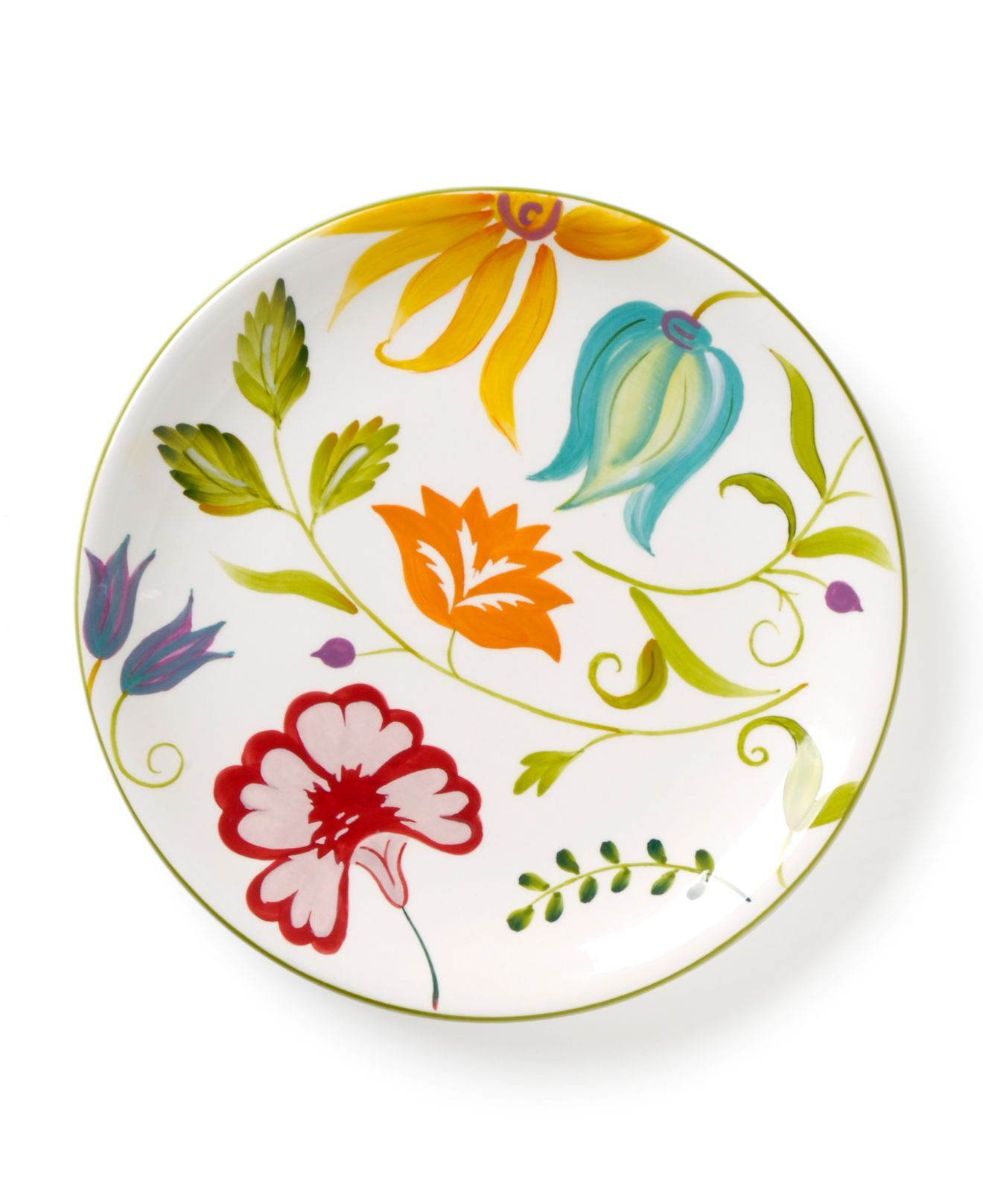 Clay Art Dinnerware, Set Of 4 Floral Salad Plates