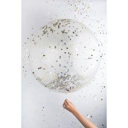 Jumbo Confetti Balloon - Clear Metallic - Pack of 1