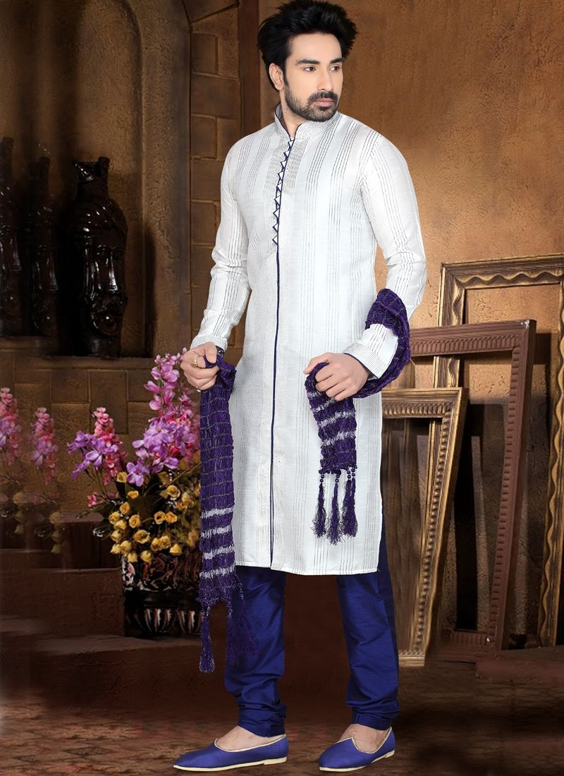 Refreshing off white art dupion silk kurta pajama ethnic pinterest