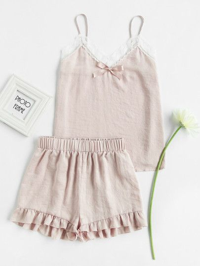 5cc7ad7c6d Shop Lace Trim Bow Detail Cami And Ruffle Shorts Pajama Set online. SheIn  offers Lace Trim Bow Detail Cami And Ruffle Shorts Pajama Set   more to fit  your ...