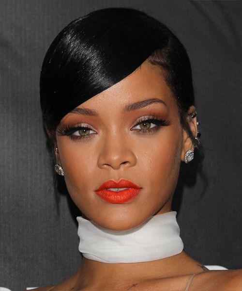 Rihanna Long Straight Black Updo Rihanna Hairstyles Rihanna Ponytail Hair Styles