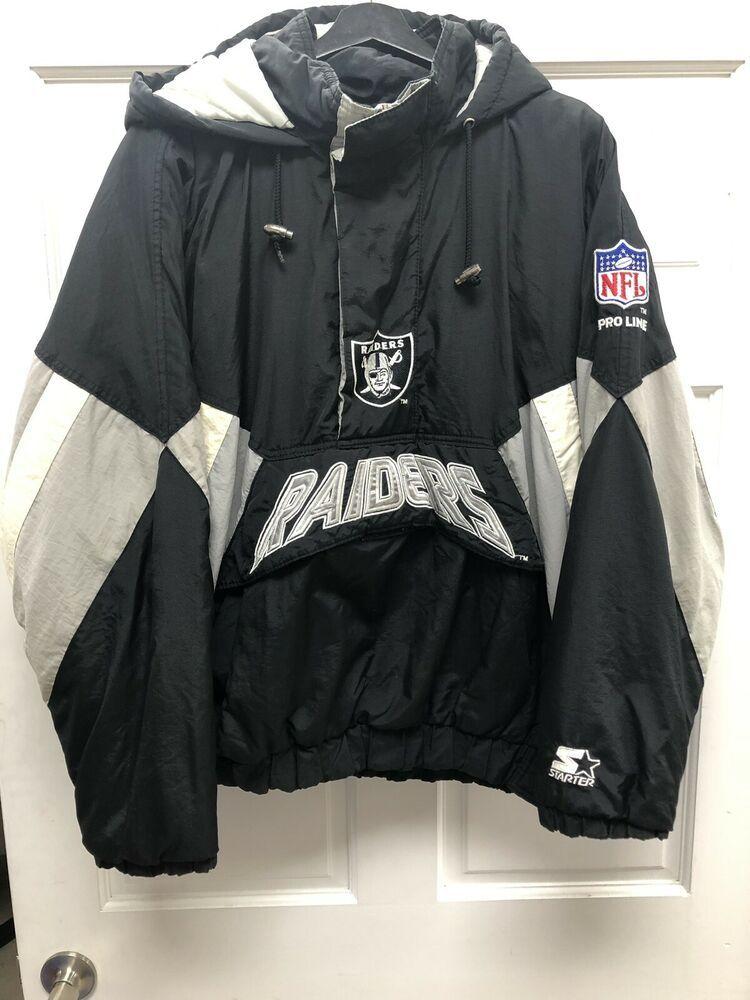 Oakland Raiders Starter Jacket Pro Line Nfl Vintage Large Hood Zip Pullover Ebay Jackets Retro Jacket Line Jackets