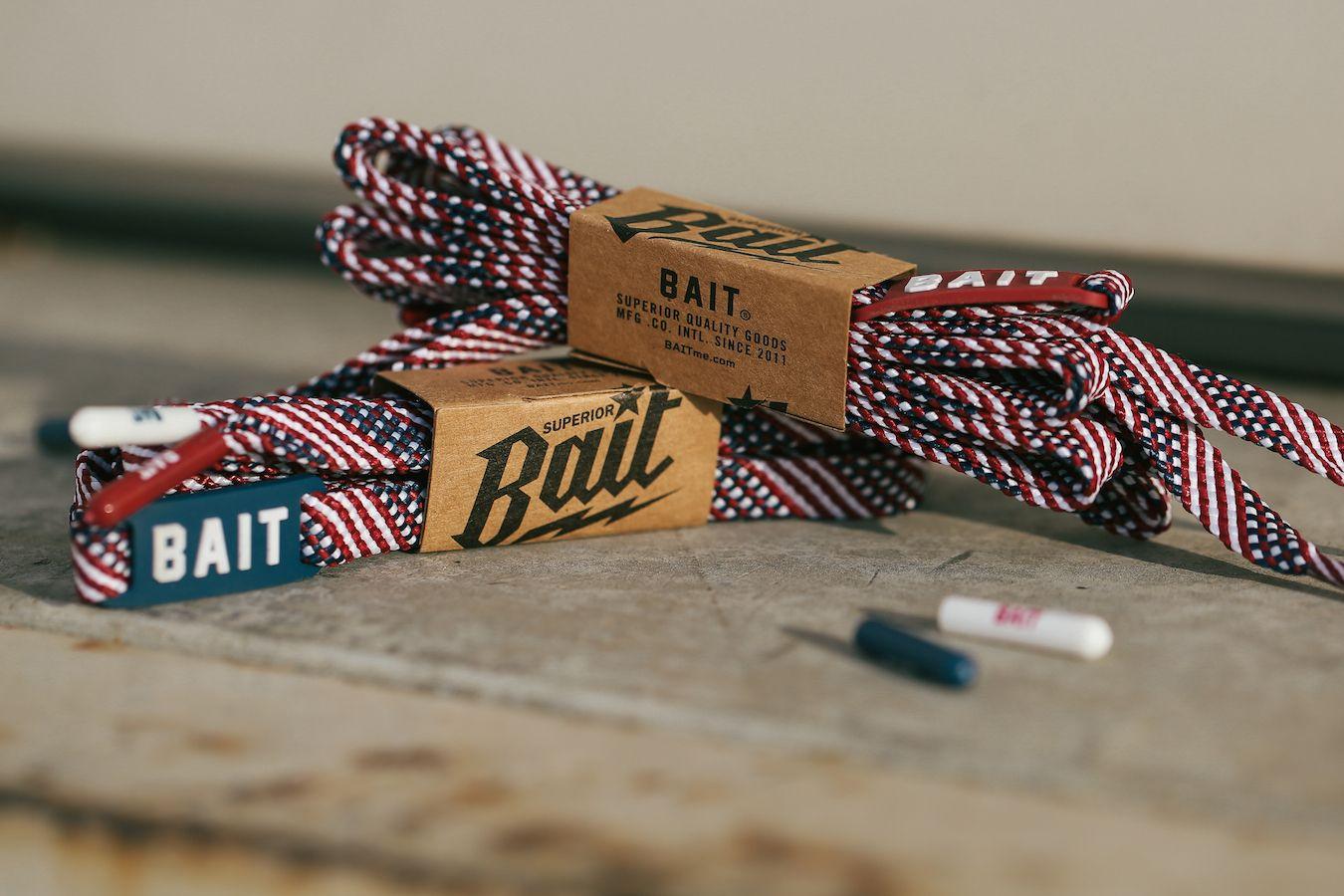 white BAIT Flat Shoelaces
