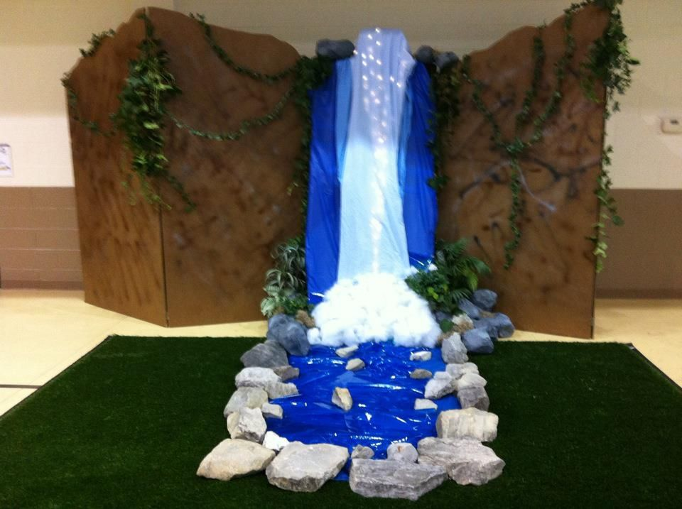 Classroom Waterfall Ideas ~ Waterfall blue plastic tableclothes white fabric