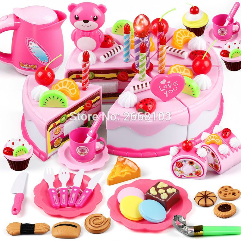 80pcs Set Diy Cake Toy Food Kitchen Plastic Pretend Play Cutting