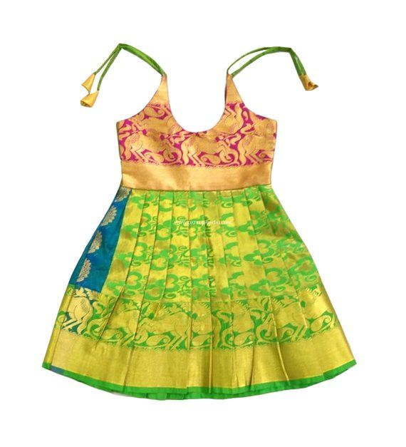 935aea36757ca Pattu Pavadai Parrot Green and Pink Pure Silk Frock for Indian Baby Girls/ Kids - 1 Year