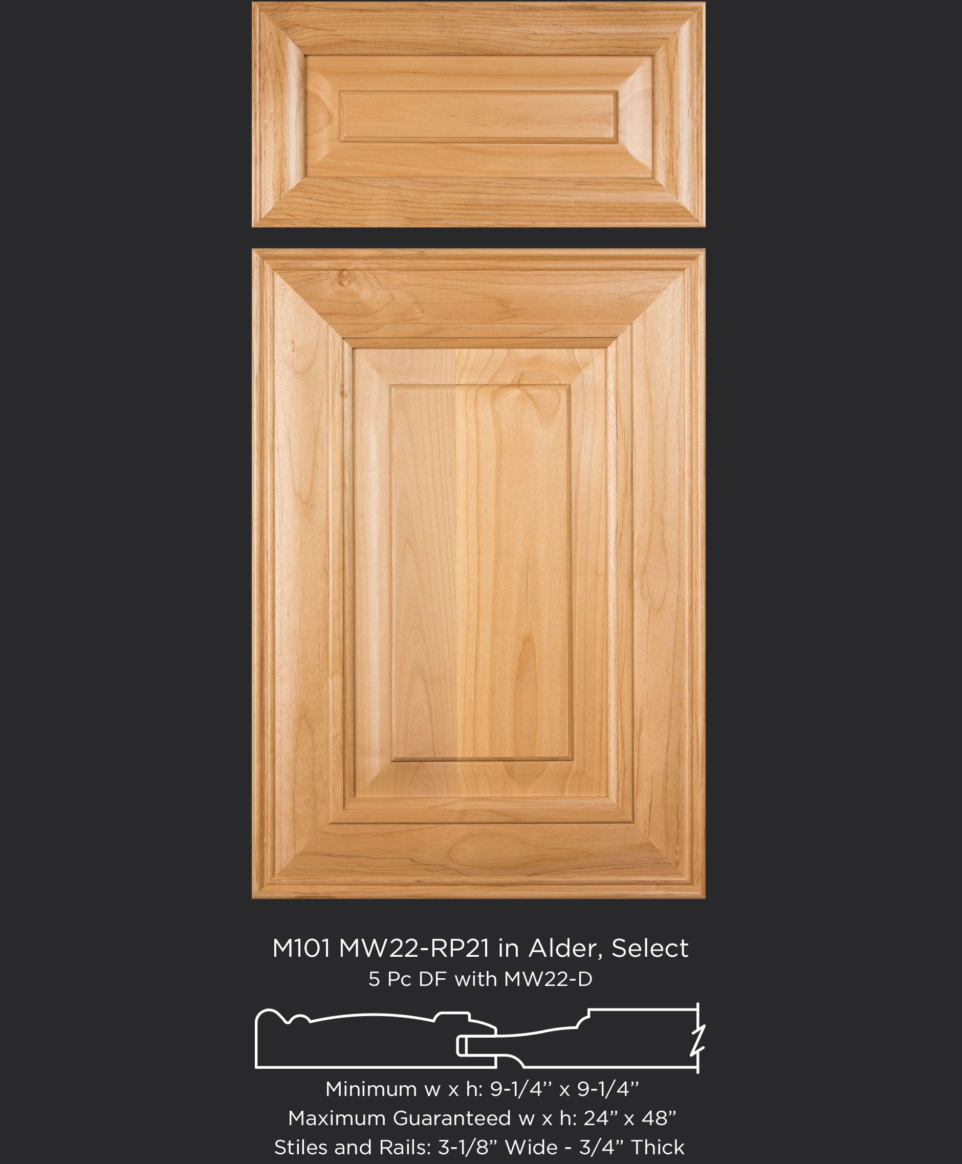Alder cabinet door with mitered frame raised panel and beautiful