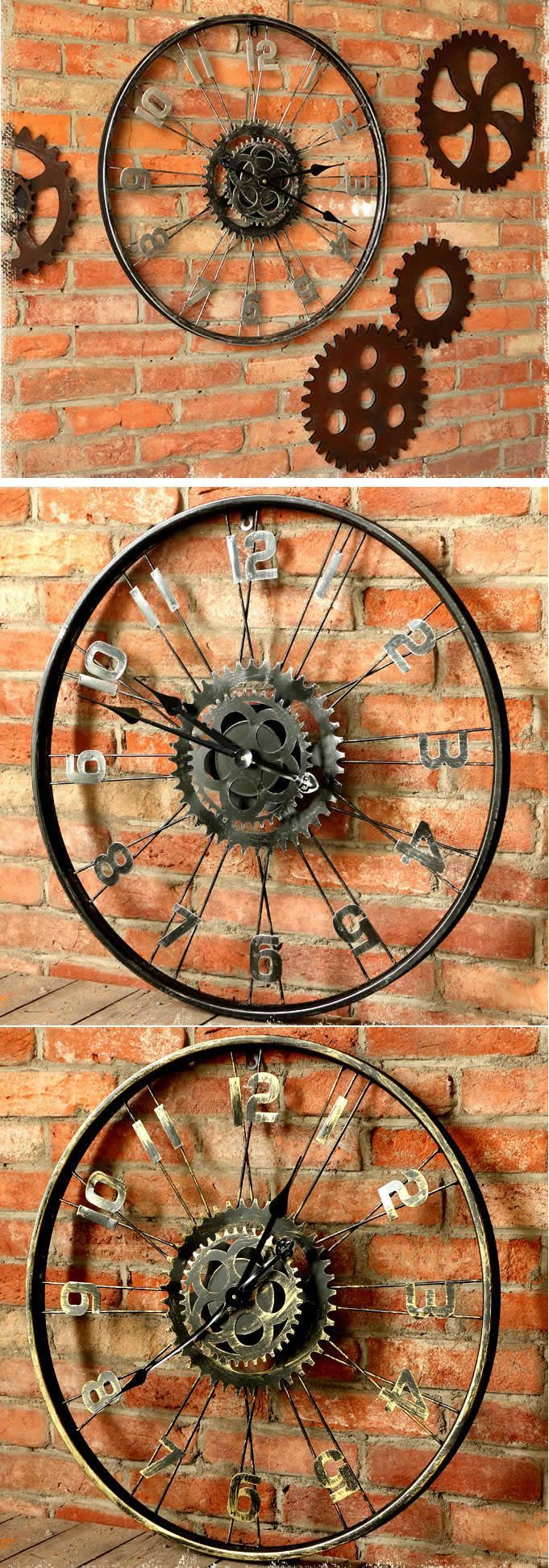 Bicycle Wheel Gear Wall Clock #bicycle #clock #gear #wall