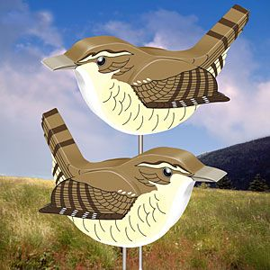 """3D Wrens DIY Woodcraft Pattern #2322 - Who doesn't love listening to the sound that these beautiful little birds make? These birds are so small that we had to offer them in two different sizes on one pattern. Largest is 7""""H x 10""""L. Smallest is 5""""H x 7""""L. Pattern by Sherwood Creations #woodworking #woodcrafts #pattern #yardart #craft #3D #wren"""