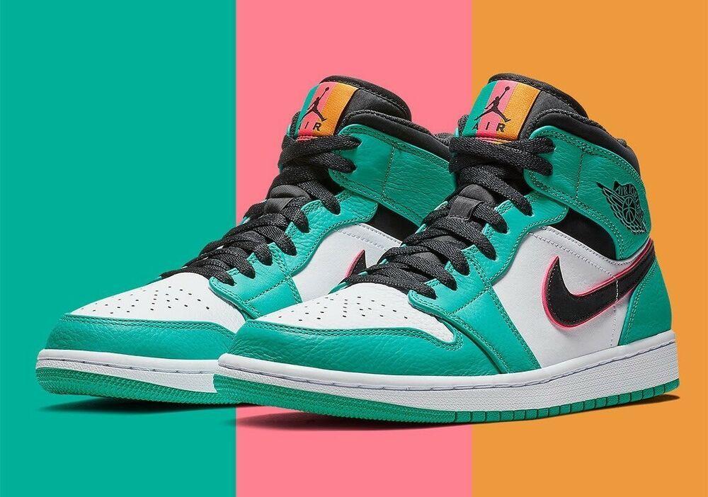 competitive price 07484 d94f6 Nike Air Jordan 1 Mid SE South Beach Green Black Pink 852542 306 Size 16  Rare!!!