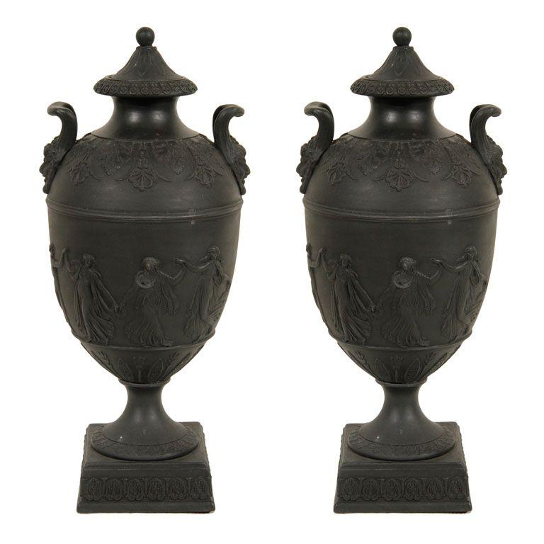 Wedgwood White On Black Jasperware Dancing Hours Urnvase With Lid