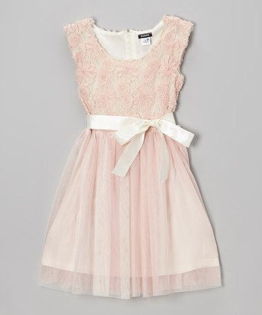 8a8ab63816 Blush Rosette Tulle Dress - Girls by Zunie   Pinky  zulily  ad  love ...