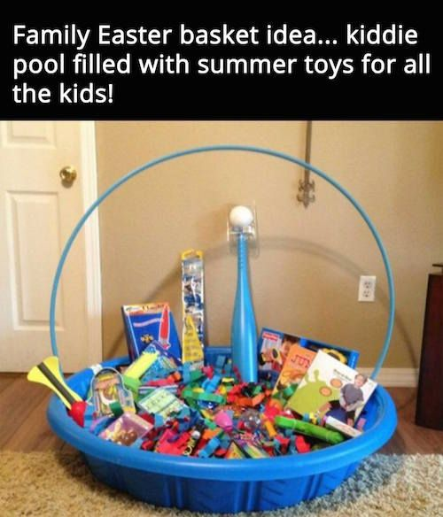 A family easter basket idea neat fill up a plastic pool with a a family easter basket idea neat fill up a plastic pool with a bunch negle Choice Image