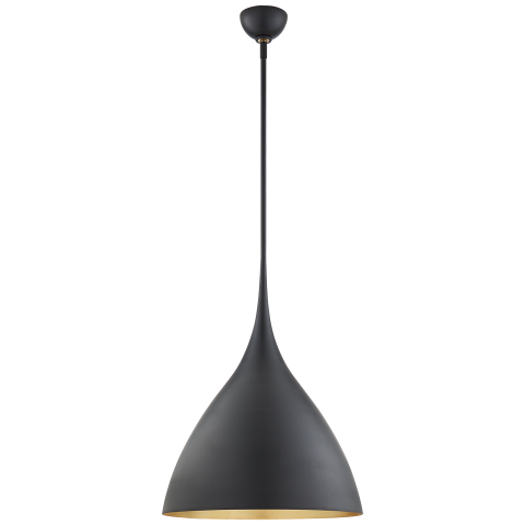 For Visual Comfort Arn Aerin Modern Agnes Medium Pendant In Matte Black With Gild Interior At Foundry Lighting