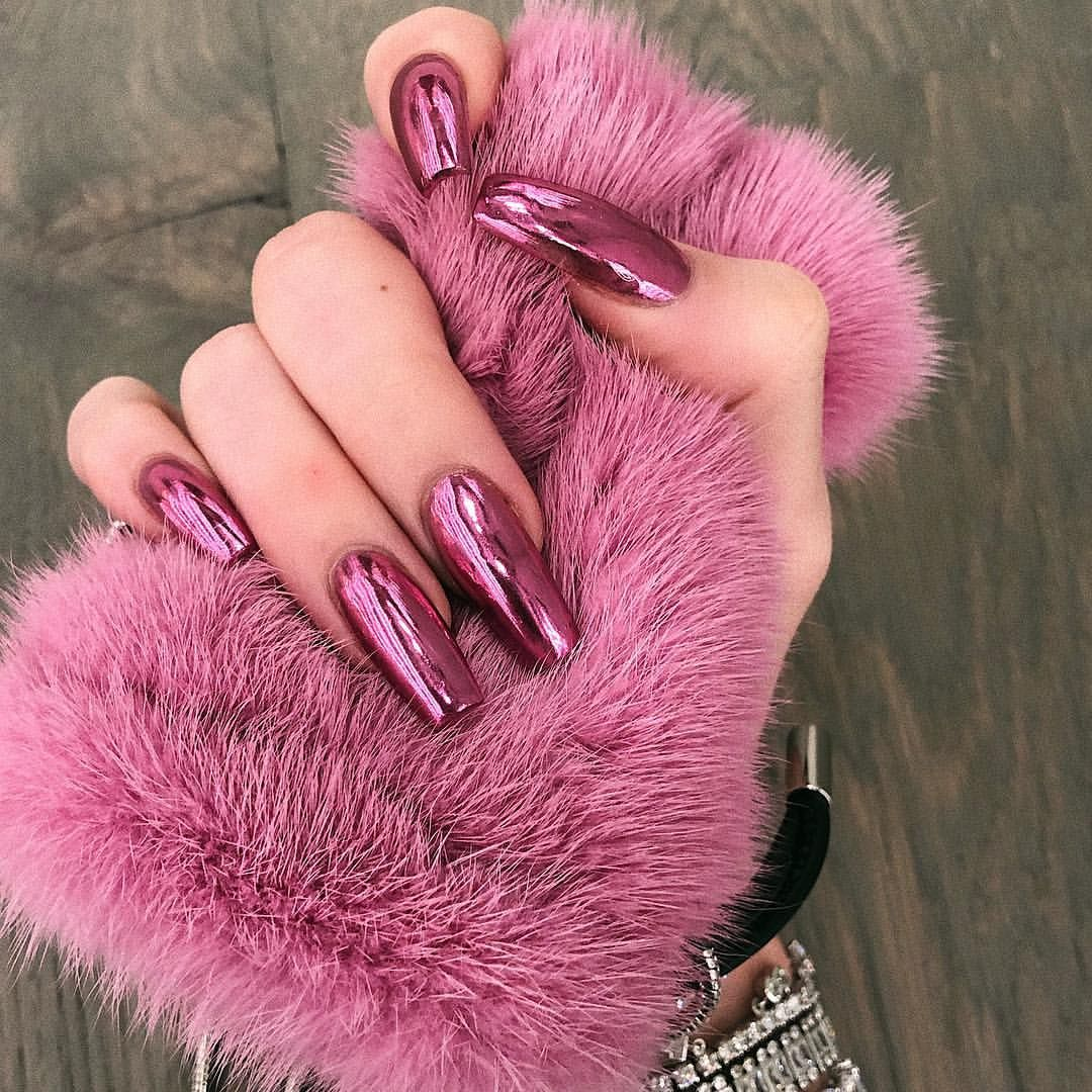 Kylie On Instagram Pink Chrome Pink Chrome Metallic Nails Pink Chrome Nails