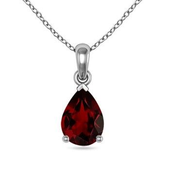 Angara Pear Shaped Garnet Teardrop Necklace in Platinum