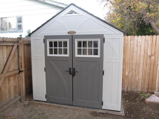 Suncast Tremont 4 Ft 3 4 In X 8 Ft 4 1 2 In Resin Storage Shed Bms8400 The Home Depot Resin Storage Storage Shed Suncast Tremont