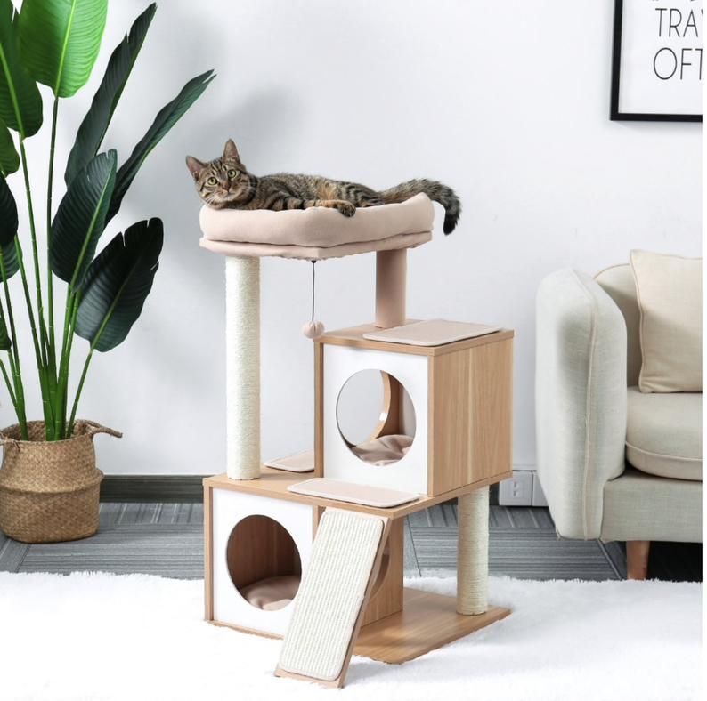 Modern Cat Tree Luxury Cat Towers With 2 Condos Kitten Etsy Casita Para Gatos Muebles Para Mascotas Torres Para Gatos